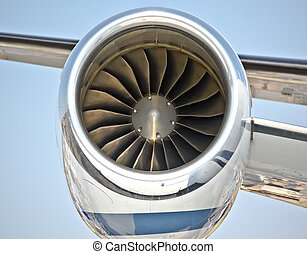 close up of turbojet of aircraft