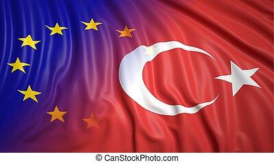 Turkish and EU flags - Close-up of Turkish and EU flags