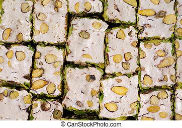 Close-up of Turkish pistachio locum. Confectionery ...