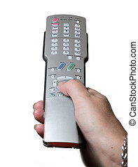 Close up of TV remote control with hand