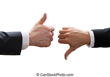 Two Businesspeople Hands Showing Thumb Up And Thumb Down Sign