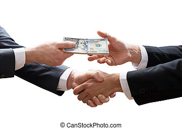 Two Businesspeople Shaking Hands And Receiving