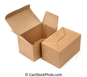 two cardboard boxes - close-up of two cardboard boxes againt...