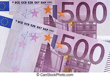 euro banknotes - close-up of two five hundred euro banknotes