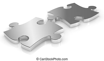 puzzle pieces - close up of two puzzle pieces made of steel...