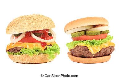 Close up of two tasty hamburgers.