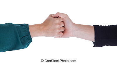 Close up of two women shaking hands