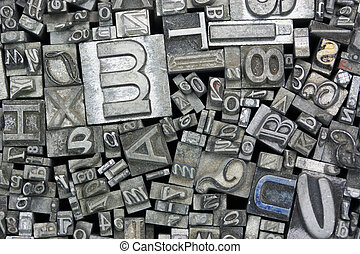 Close up of typeset letters - Close up of old used metal...