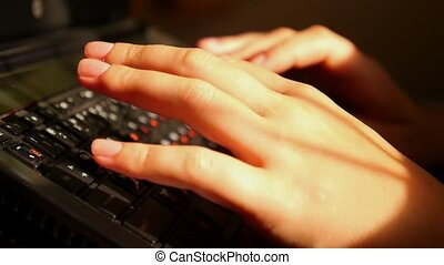 Close-up of Typing Female Hands. Teleworking. Freelance.