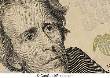Close up of United States twenty-dollar bill face of Andrew ...