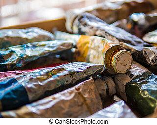 used oil paint tubes