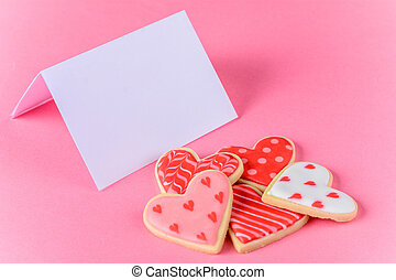 Valentine's day cookies with empty greeting card