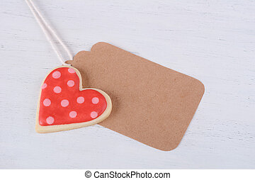 Valentine's day cookies with greeting card