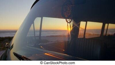 Close-up of van pendent hanging in van 4k - Close-up of van ...