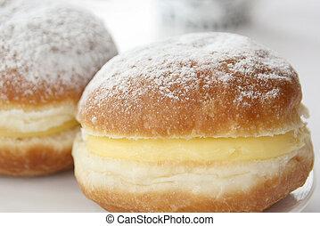 Close-up of vanilla cream Berliner