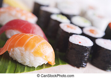 Close-up of various Japanese sushi, shallow depth of field