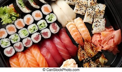 Close up of various types of japanese fresh prepared sushi....