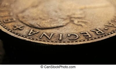 Close up of very old coins - Close up of a detailed old coin