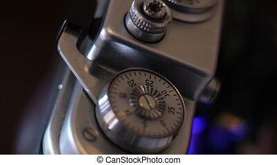 Close up of vintage film camera