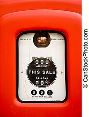Close up of vintage gas pump