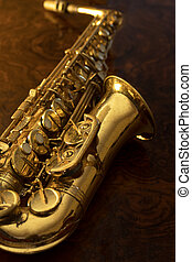 Close up of vintage saxophone
