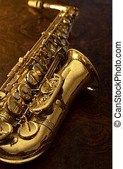 Close up of vintage saxophone