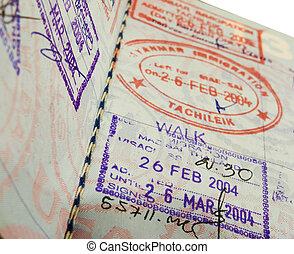 passport - close up of visas in a us passport