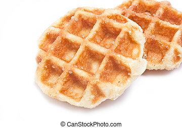 Close up of waffle isolated on white background.