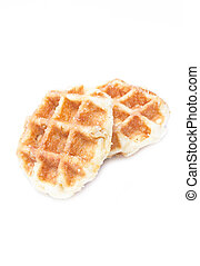 Close up of waffle on white background.