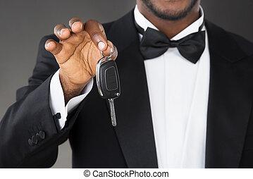 Close-up Of Waiter Holding Car Key