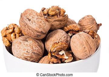 walnuts bunch in bowl.