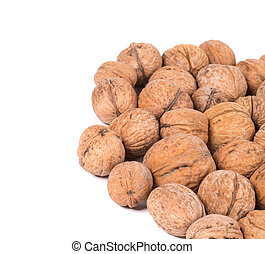 Close up of walnuts bunch.