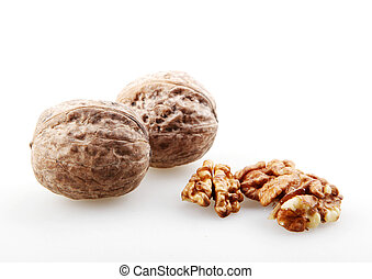 Close-Up Of Walnuts Isolated On White