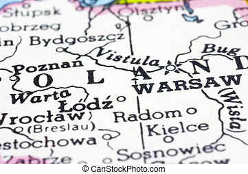 Close Up of Warsaw on Map, Poland