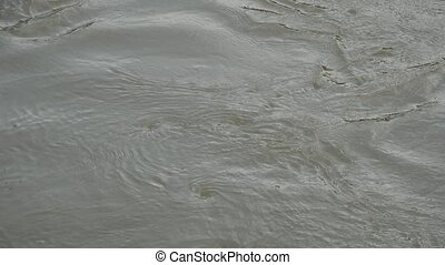 close up of water run through river in rainy season