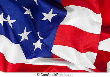 Close-up of waving American flag. creative photo.