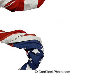 Close up of waving national usa american flag on white background.