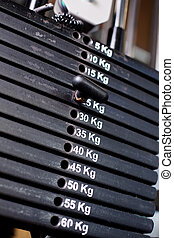 Close up of weights in a gym with the pin at 25kg