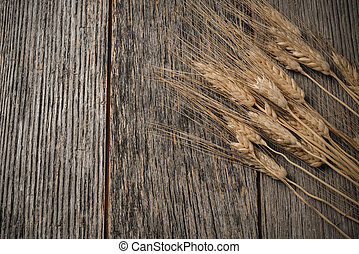 Close Up of Wheat on Rustic Wooden Table