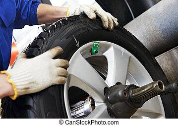 close-up of wheel balancing