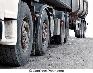 wheels of heavy truck
