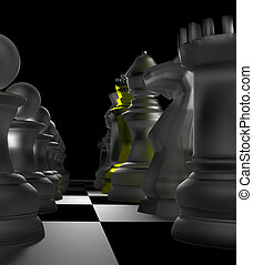 Close up of white chess pieces with golden queen