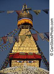 Close up of widsom eyes of Boudhanath Stupa with in Kathmandu