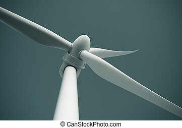 Close up of wind turbine producing alternative energy