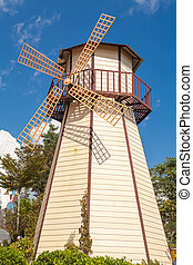 Windmill with blue sky