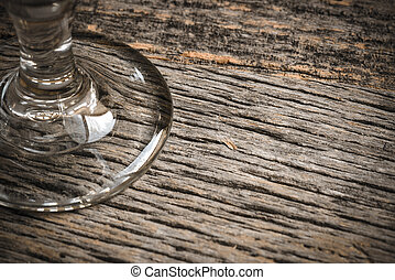 Close Up of Wine Glass on Wood Background