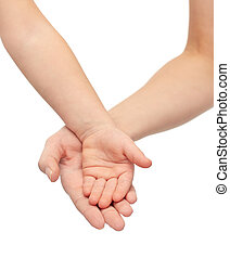 close up of woman and little child hands together