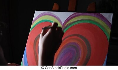 artist hand painting - close up of woman artist hand...