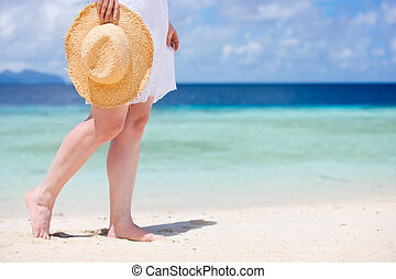 Close up of woman at beach