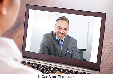 Woman Attending Video Conference